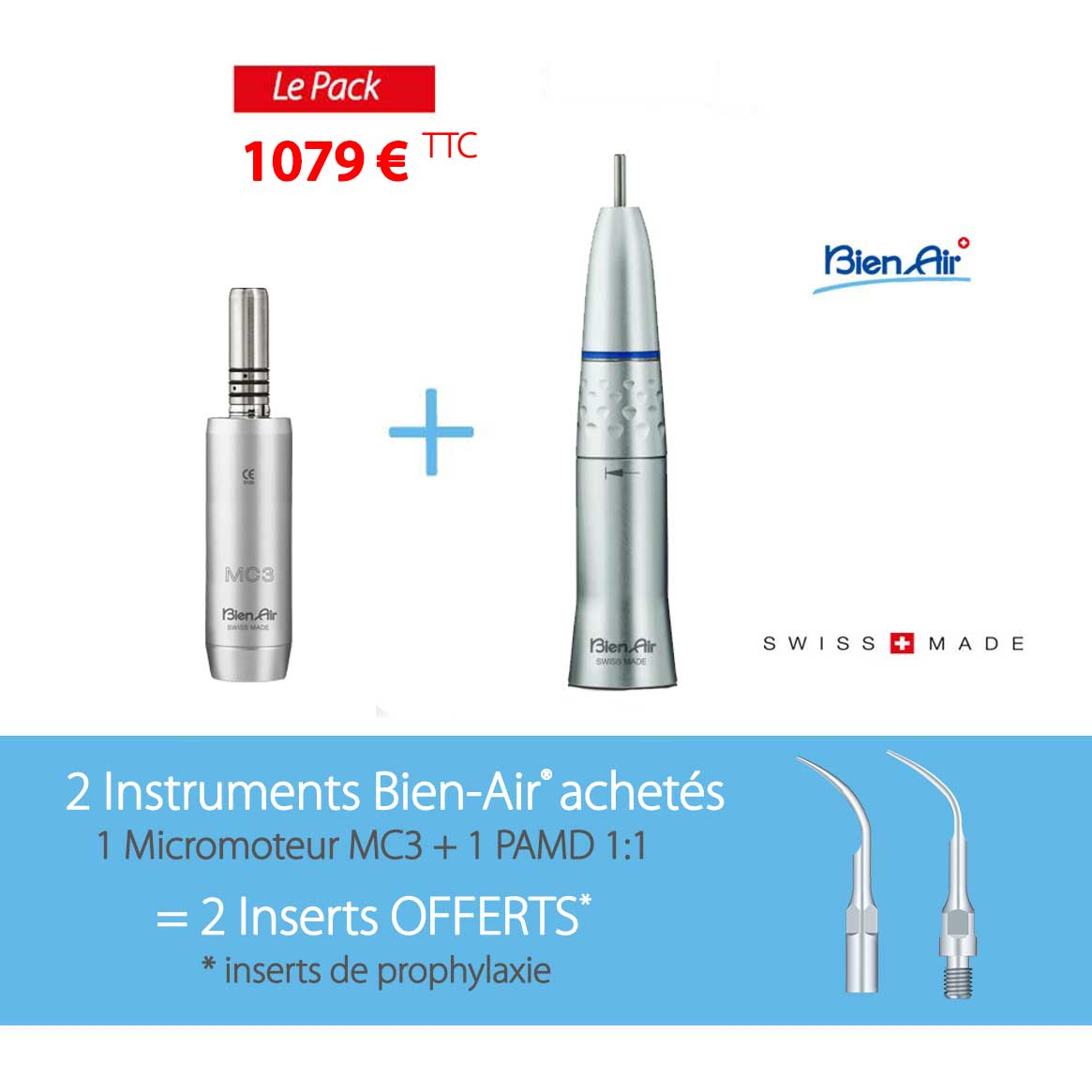 Lot 2 instruments Bien-Air + 2 inserts Offerts